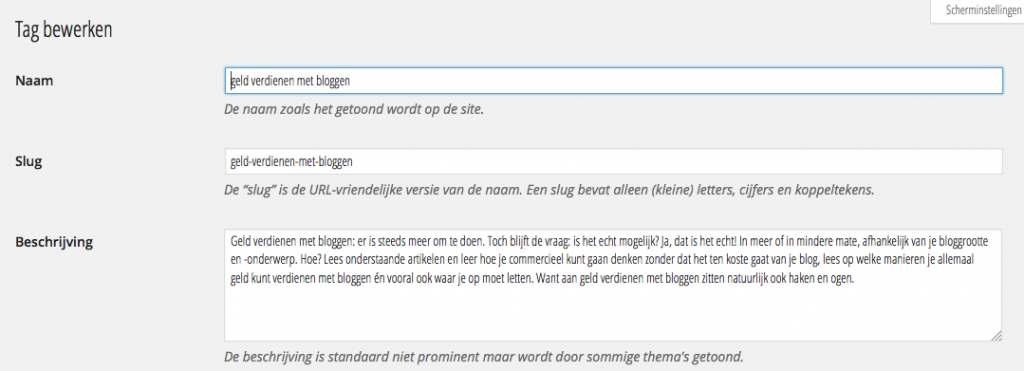 Tags wordpress