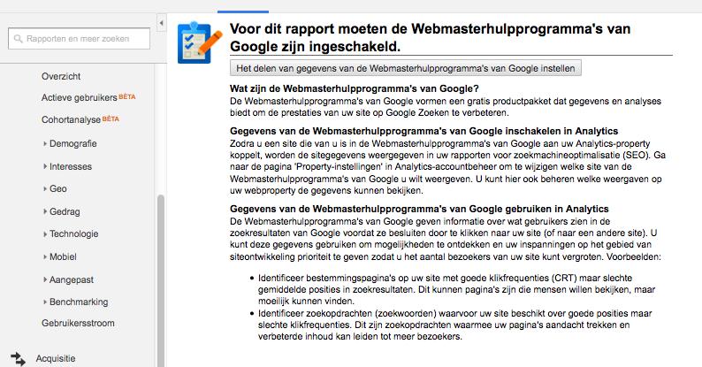 Koppelen Google Analytics met Google Webmaster Tools