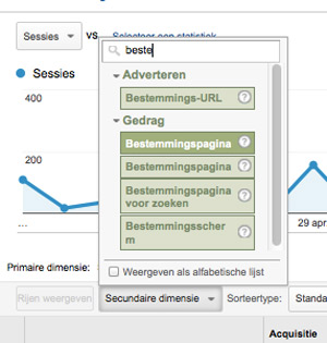 Bestemmingspagina, verkeersbronnen Google Analytics