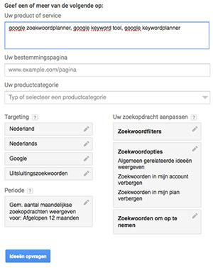 Google Keyword Tool: zoekplanner