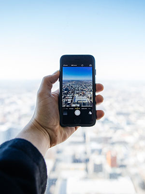Mobiele blogger op reis